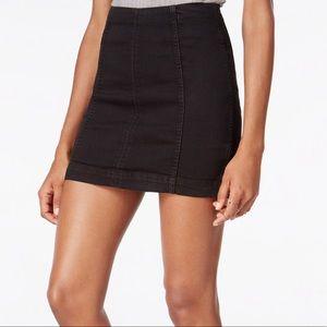 Free People Black Denim Skirt